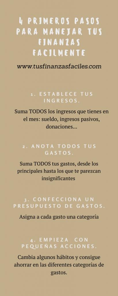4 PRIMEROS PASOS PARA MANEJAR TUS FINANZAS FÁCILMENTE